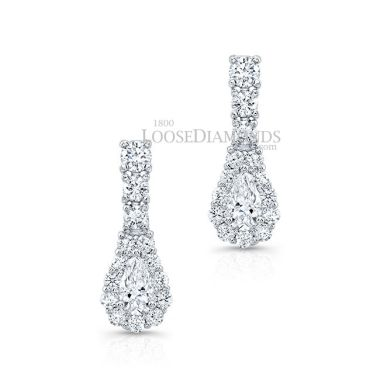 14k White Gold Classic Style Dangling Pear Shape Diamond Earrings