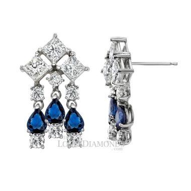 14k White Gold Modern Style Sapphire & Diamond Chandelier Earrings