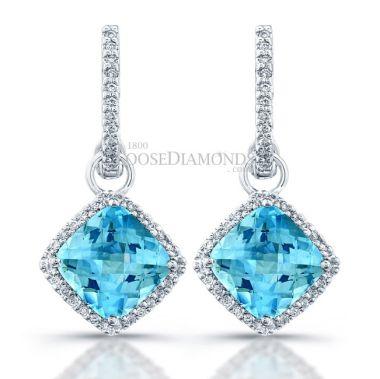 14k White Gold Sky Blue Topaz & Diamond Earrings