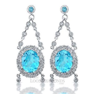 14k White Gold Vintage Style Engraved Topaz & Diamond Earrings