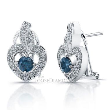 14k White Gold Heart Shape Blue & White Diamond Earrings