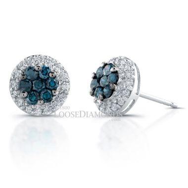 14k White Gold Blue & White Diamond Earrings