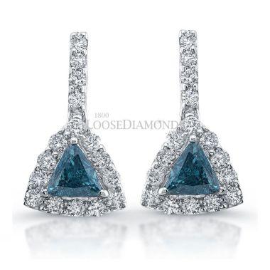14k White Gold Trilliant Cut Blue Diamond Earrings