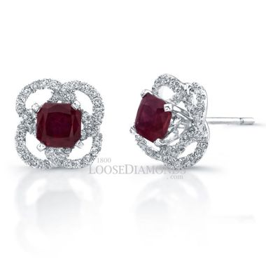 14k White Gold Halo Style Diamond & Ruby Earrings