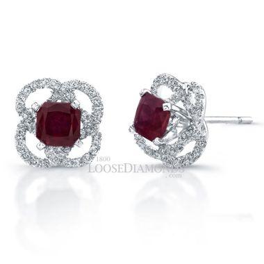 Platinum Halo Style Diamond & Ruby Earrings