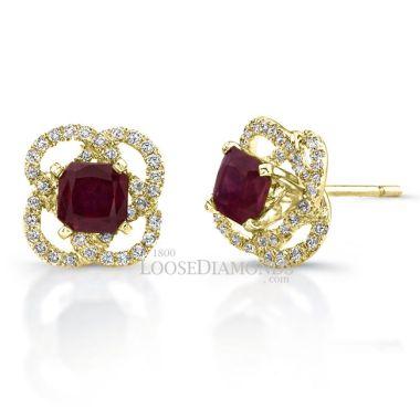 14k Yellow Gold Halo Style Diamond & Ruby Earrings