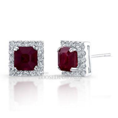 14k White Gold Halo Style Diamond & Ruby Earring
