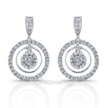 14k White Gold Tri-Halo Diamond Earrings