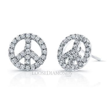 14k White Gold Peace Symbol Diamond Earrings