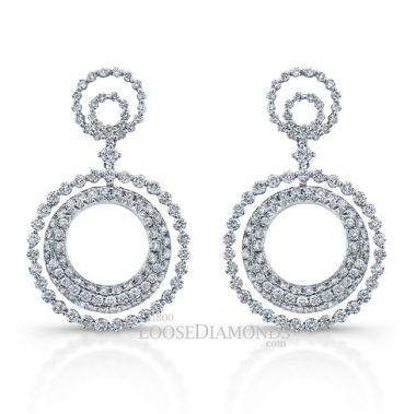 14k White Gold Halo Style Diamond Earrings