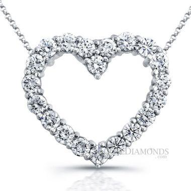 14k White Gold Classic Style Heart Shape Diamond Pendant