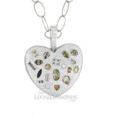 14k White Gold Vintage Style Multi-Color Fancy Shape Diamond Heart Pendant