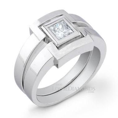 14k White Gold Men's Princess Cut Diamond Ring