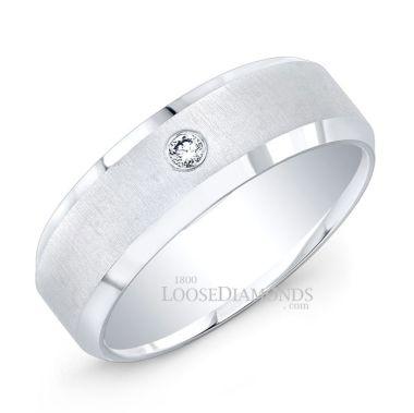14k White Gold Modern Style Brush Finished Diamond Wedding Ring
