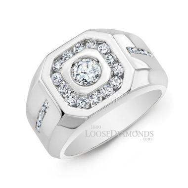 14k White Gold Men's Diamond Wedding Ring