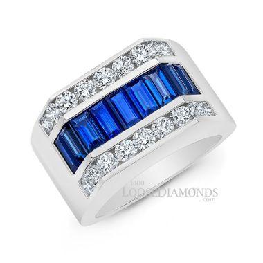 14k White Gold Men's Modern Style Diamond & Baguette Sapphire Ring