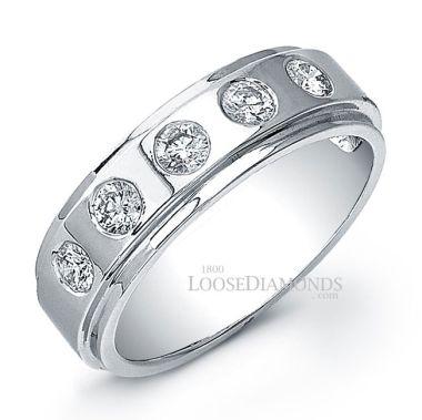 14k White Gold Men's Modern Style Wedding Diamond Band