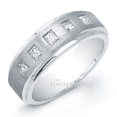 14k White Gold Men's Modern Style Diamond Wedding Ring