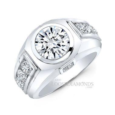 14k White Gold Men's Modern Style Diamond Ring