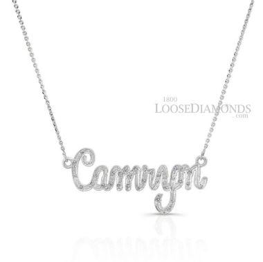 14k White Gold Engraved Diamond Name Tag Pendant