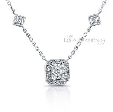 14k White Gold Modern Style Halo Diamond Pendant & Diamond Necklace