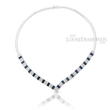 14k White Gold Modern Style Diamond & Sapphire Necklace