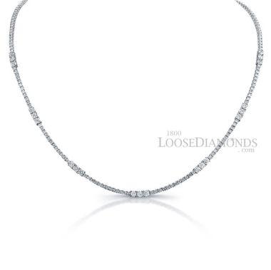 14k White Gold Classic Style Diamond Tennis Necklace