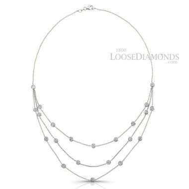 14k White Gold Art Deco Style Two Tone Gold Diamond By The Yard Necklace