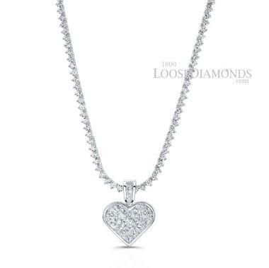 14k White Gold Modern Style Tennis Diamond Necklace & Diamond Heart Pendant