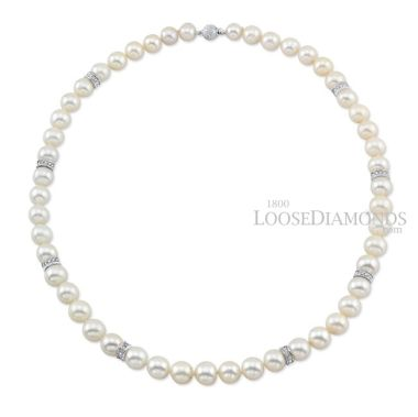 14k White Gold Classic Style Pearl & Diamond Rondel Necklace