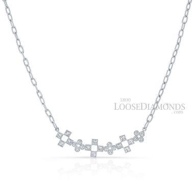 14k White Gold Art Deco Style Mix Shape Diamond Necklace