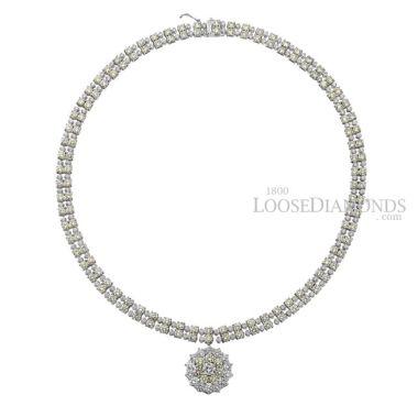 14k White Gold Vintage Style Two-Row Diamond Necklace & Pendant