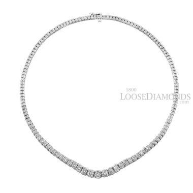 14k White Gold Graduated Diamond Tennis Necklace