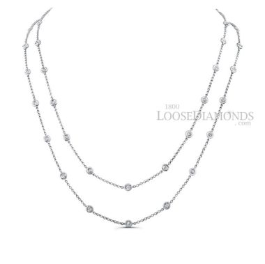 14k White Gold Classic Style Two-Row Diamond by the Yard Necklace