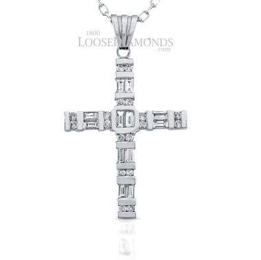 14k White Gold Modern Style Baguette Diamond Cross Pendant