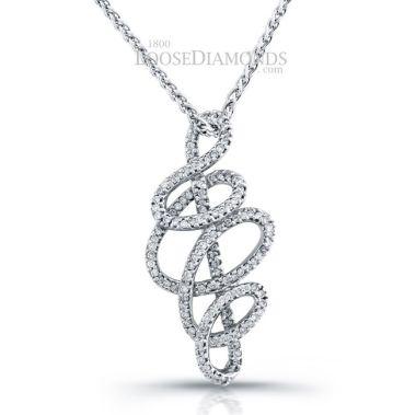 14k White Gold Art Deco Style Diamond Pendant