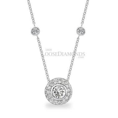 14k White Gold Modern Style Necklace with Slider Diamond Pendant