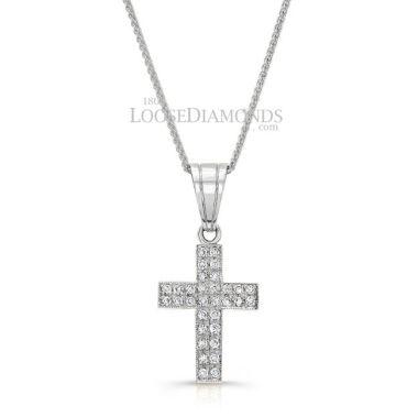 14k White Gold Vintage Style Diamond Cross Pendant