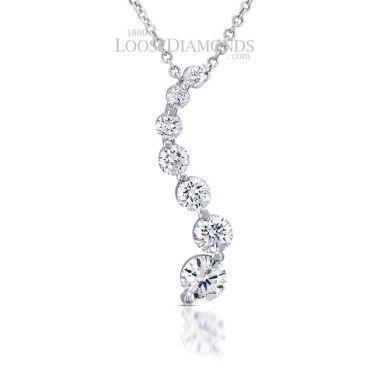 14k White Gold Classic Style Diamond Journey Pendant