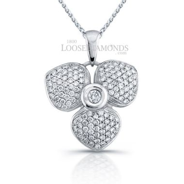 14k White Gold Classic Style Floral Diamond Pendant