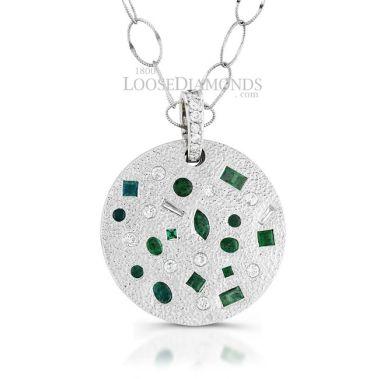 14k White Gold Vintage Style Diamond & Emerald Pendant