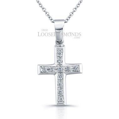 14k White Gold Classic Style Petite Diamond Cross Pendant