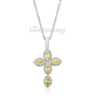 14k White Gold Modern Style Fancy Colored Diamond Cross Pendant