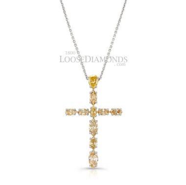 14k White Gold Classic Style Diamond Cross Pendant