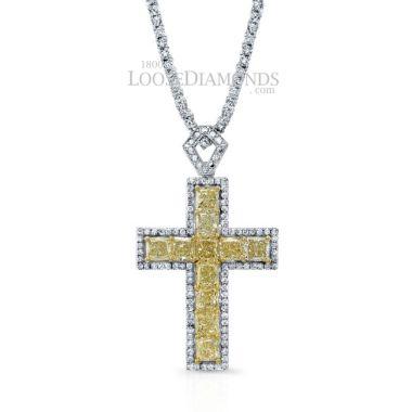 14k White Gold Modern Style Fancy Yellow Diamond Cross Pendant