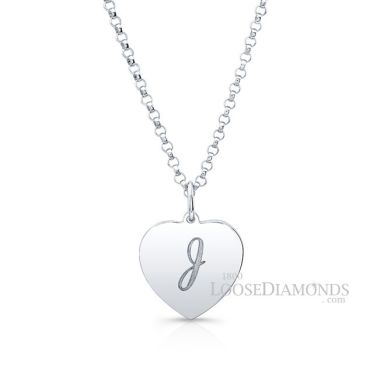 14k White Gold Classic Style Heart Shape Monogram Pendant