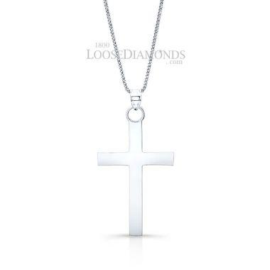 14k White Gold Classic Style Cross Pendant