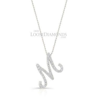 14k White Gold Initial Diamond Pendant