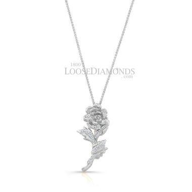 14k White Gold Vintage Style Rose Diamond Pendant