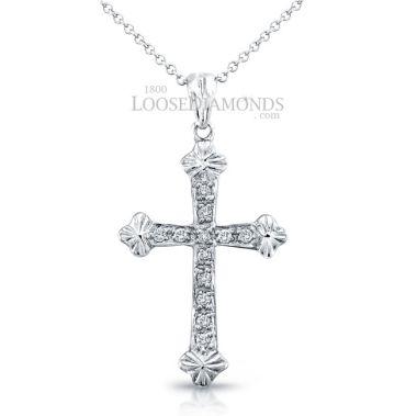 14k White Gold Vintage Style Petite Diamond Cross Pendant